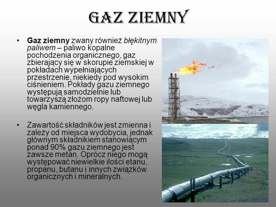 Gaz ziemny Gaz ziemny zwany również błękitnym paliwem – paliwo kopalne pochodzenia organicznego, gaz zbierający się w skorupie ziemskiej w pokładach w