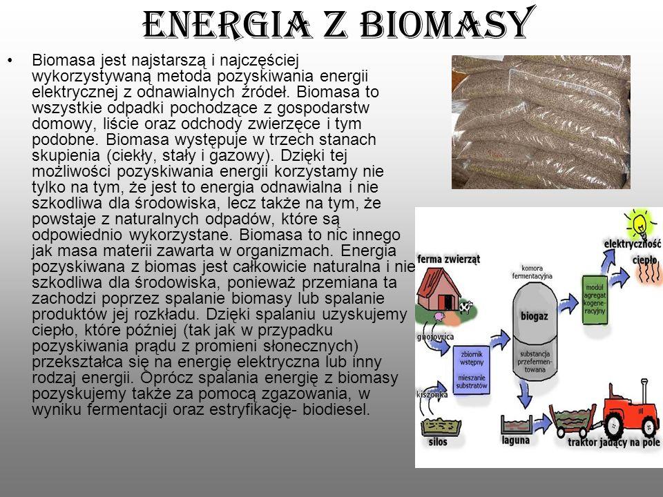 Energia z biomasy Biomasa jest najstarszą i najczęściej wykorzystywaną metoda pozyskiwania energii elektrycznej z odnawialnych źródeł. Biomasa to wszy