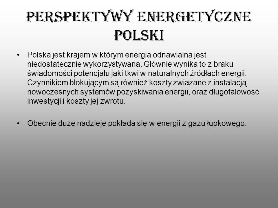 Perspektywy energetyczne Polski Polska jest krajem w którym energia odnawialna jest niedostatecznie wykorzystywana. Głównie wynika to z braku świadomo