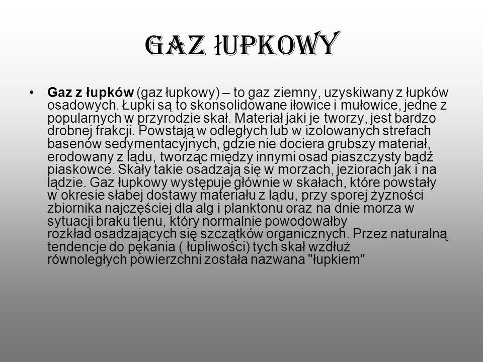 Gaz ł upkowy Gaz z łupków (gaz łupkowy) – to gaz ziemny, uzyskiwany z łupków osadowych. Łupki są to skonsolidowane iłowice i mułowice, jedne z popular