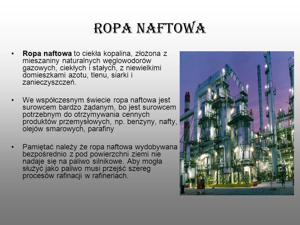 Ropa naftowa Ropa naftowaRopa naftowa to ciekła kopalina, złożona z mieszaniny naturalnych węglowodorów gazowych, ciekłych i stałych, z niewielkimi do