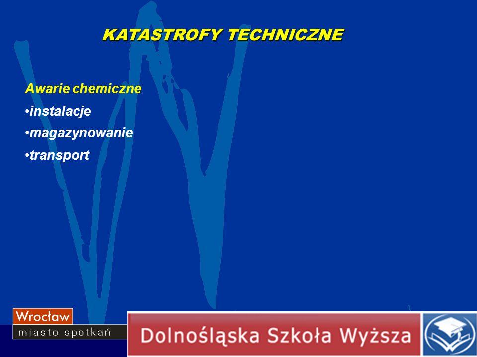 Awarie chemiczne instalacje magazynowanie transport KATASTROFY TECHNICZNE