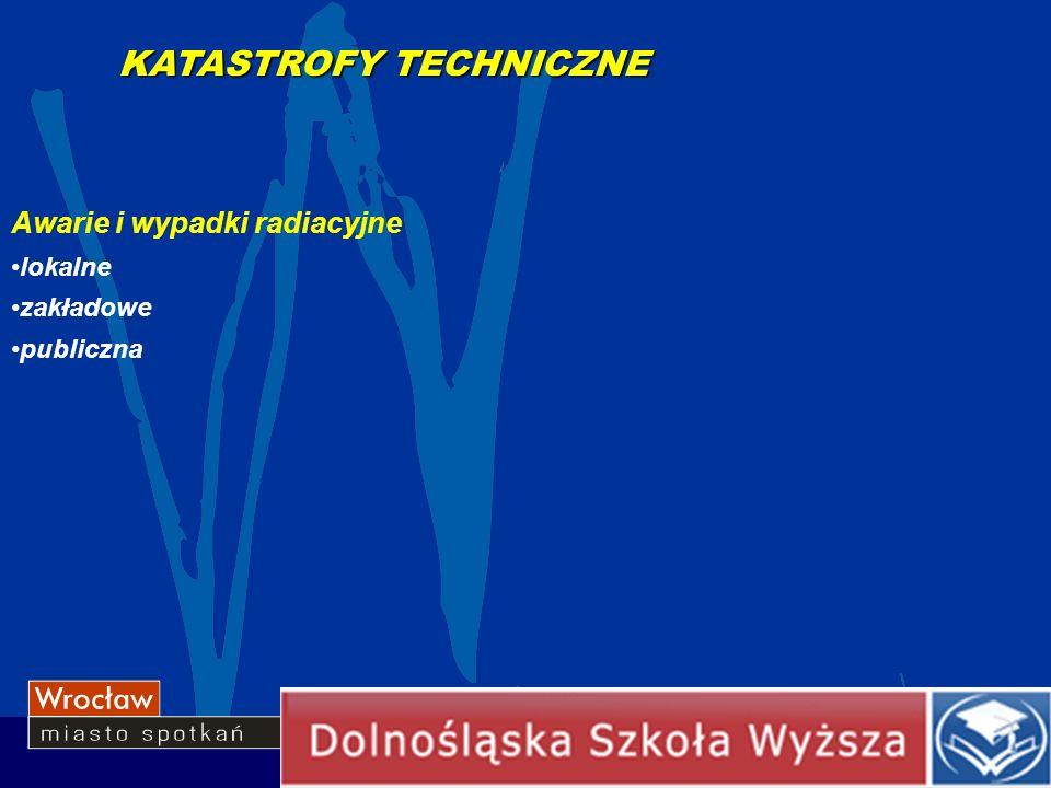 Awarie i wypadki radiacyjne lokalne zakładowe publiczna KATASTROFY TECHNICZNE