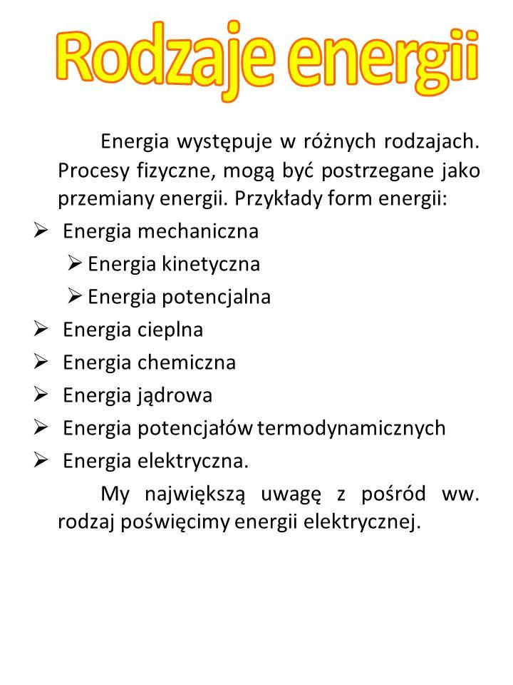 Energia występuje w różnych rodzajach. Procesy fizyczne, mogą być postrzegane jako przemiany energii. Przykłady form energii: Energia mechaniczna Ener