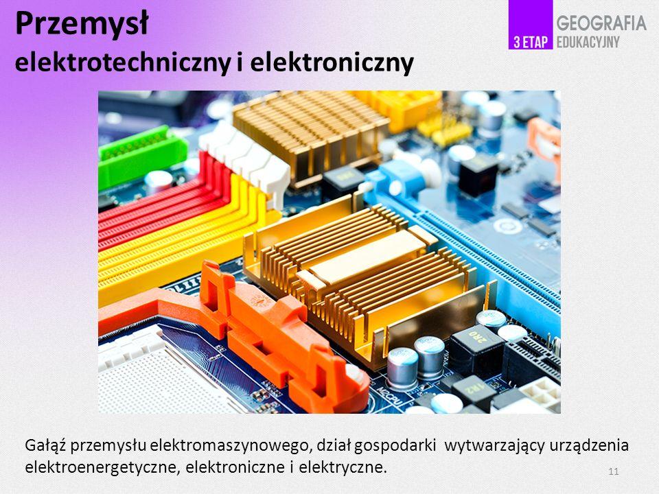 Przemysł elektrotechniczny i elektroniczny Gałąź przemysłu elektromaszynowego, dział gospodarki wytwarzający urządzenia elektroenergetyczne, elektroni