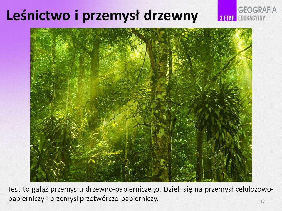 Leśnictwo i przemysł drzewny Jest to gałąź przemysłu drzewno-papierniczego.