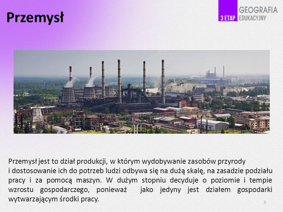 Przemysł Przemysł jest to dział produkcji, w którym wydobywanie zasobów przyrody i dostosowanie ich do potrzeb ludzi odbywa się na dużą skalę, na zasadzie podziału pracy i za pomocą maszyn.