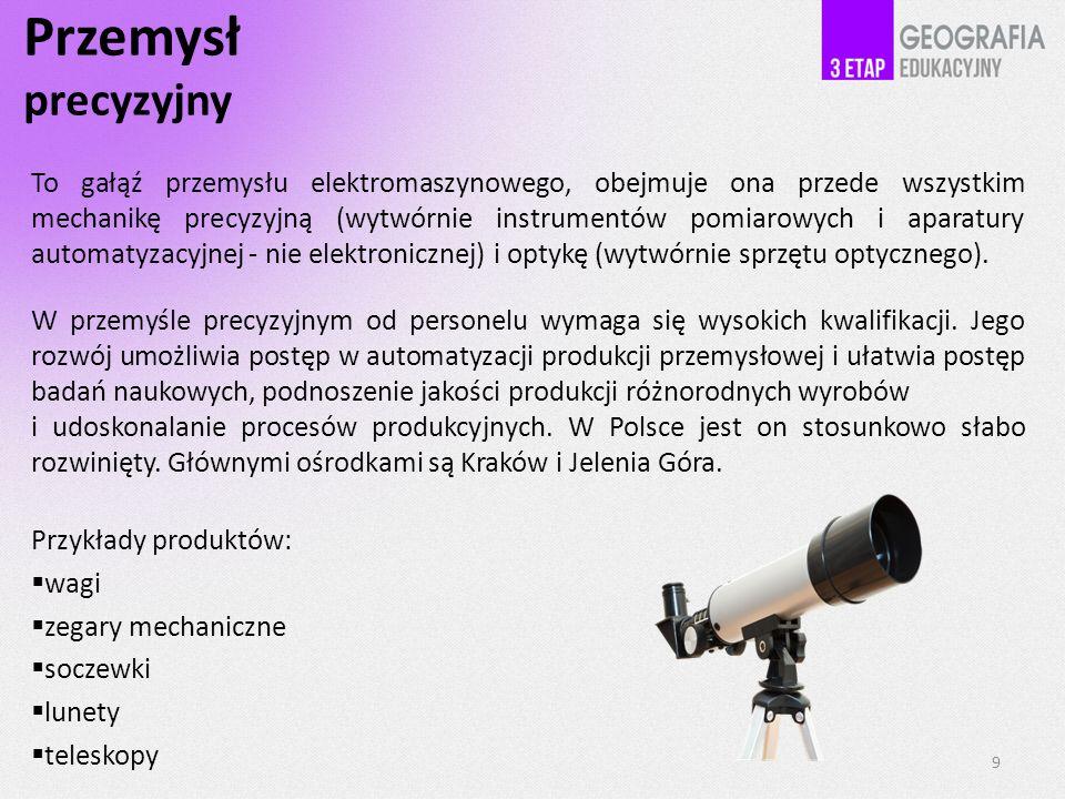 Przemysł precyzyjny To gałąź przemysłu elektromaszynowego, obejmuje ona przede wszystkim mechanikę precyzyjną (wytwórnie instrumentów pomiarowych i aparatury automatyzacyjnej - nie elektronicznej) i optykę (wytwórnie sprzętu optycznego).