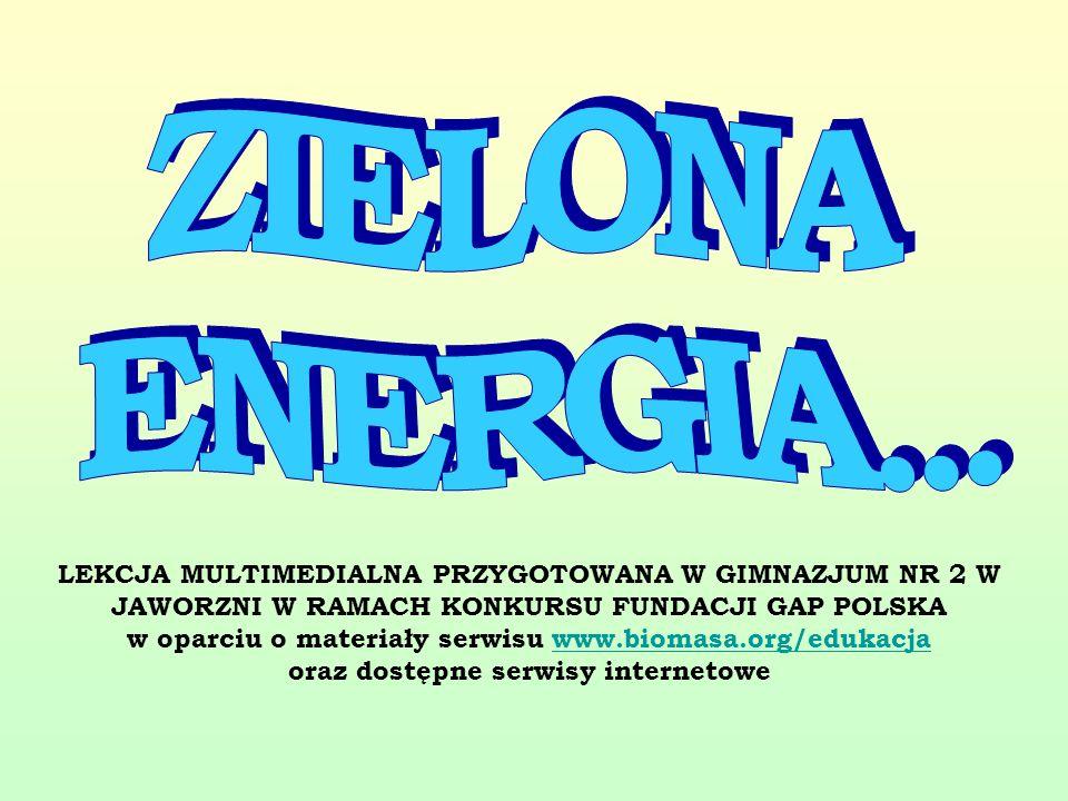 LEKCJA MULTIMEDIALNA PRZYGOTOWANA W GIMNAZJUM NR 2 W JAWORZNI W RAMACH KONKURSU FUNDACJI GAP POLSKA w oparciu o materiały serwisu www.biomasa.org/eduk