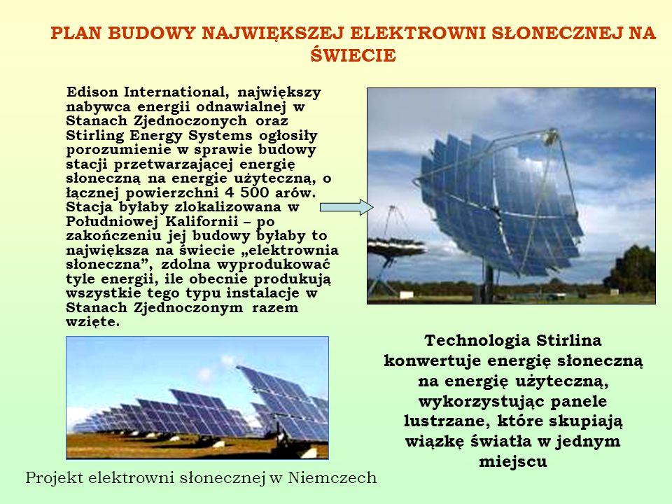 PLAN BUDOWY NAJWIĘKSZEJ ELEKTROWNI SŁONECZNEJ NA ŚWIECIE Edison International, największy nabywca energii odnawialnej w Stanach Zjednoczonych oraz Sti