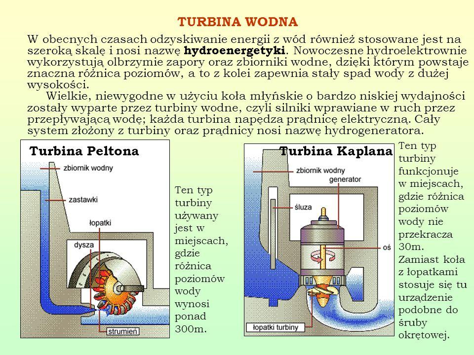 TURBINA WODNA W obecnych czasach odzyskiwanie energii z wód również stosowane jest na szeroką skalę i nosi nazwę hydroenergetyki. Nowoczesne hydroelek