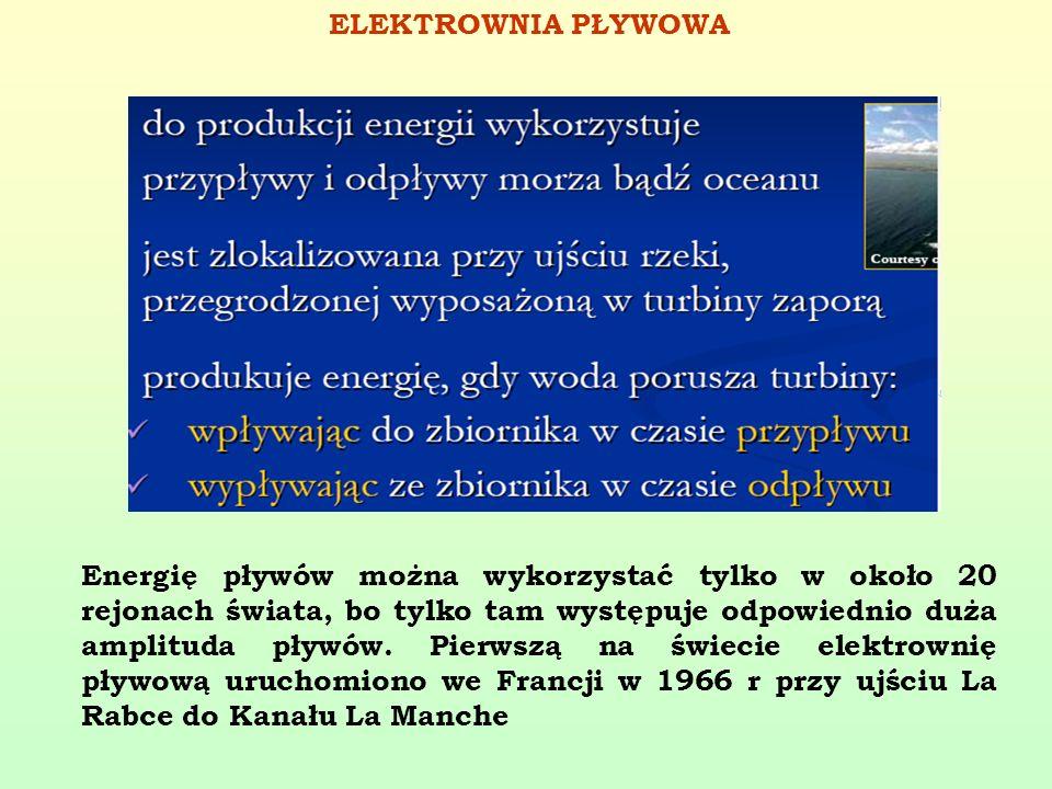 ELEKTROWNIA PŁYWOWA Energię pływów można wykorzystać tylko w około 20 rejonach świata, bo tylko tam występuje odpowiednio duża amplituda pływów. Pierw