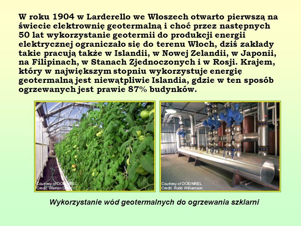 W roku 1904 w Larderello we Włoszech otwarto pierwszą na świecie elektrownię geotermalną i choć przez następnych 50 lat wykorzystanie geotermii do pro