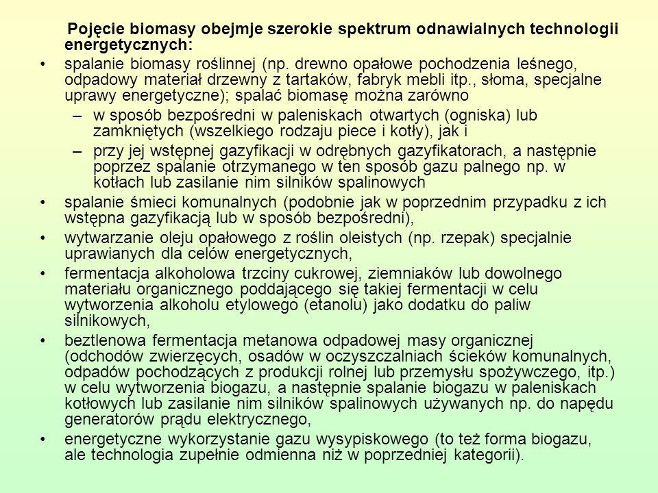 Pojęcie biomasy obejmje szerokie spektrum odnawialnych technologii energetycznych: spalanie biomasy roślinnej (np. drewno opałowe pochodzenia leśnego,