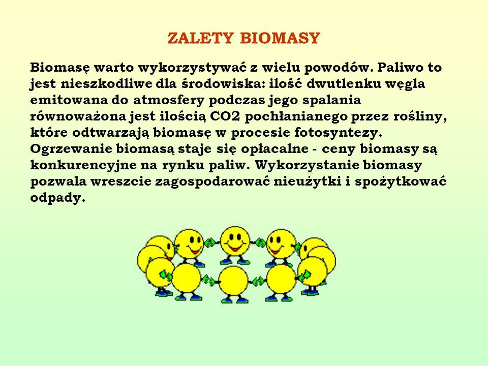 ZALETY BIOMASY Biomasę warto wykorzystywać z wielu powodów. Paliwo to jest nieszkodliwe dla środowiska: ilość dwutlenku węgla emitowana do atmosfery p