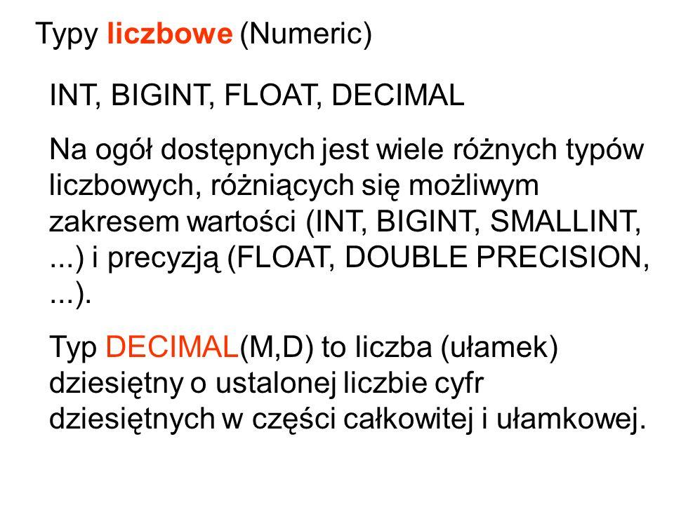 INT, BIGINT, FLOAT, DECIMAL Na ogół dostępnych jest wiele różnych typów liczbowych, różniących się możliwym zakresem wartości (INT, BIGINT, SMALLINT,.