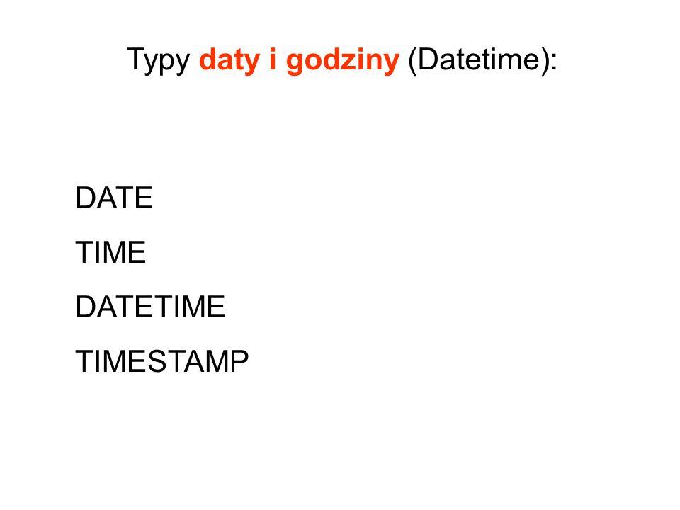 DATE TIME DATETIME TIMESTAMP Typy daty i godziny (Datetime):