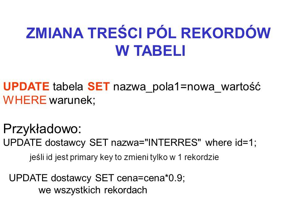 ZMIANA TREŚCI PÓL REKORDÓW W TABELI UPDATE tabela SET nazwa_pola1=nowa_wartość WHERE warunek; Przykładowo: UPDATE dostawcy SET nazwa=