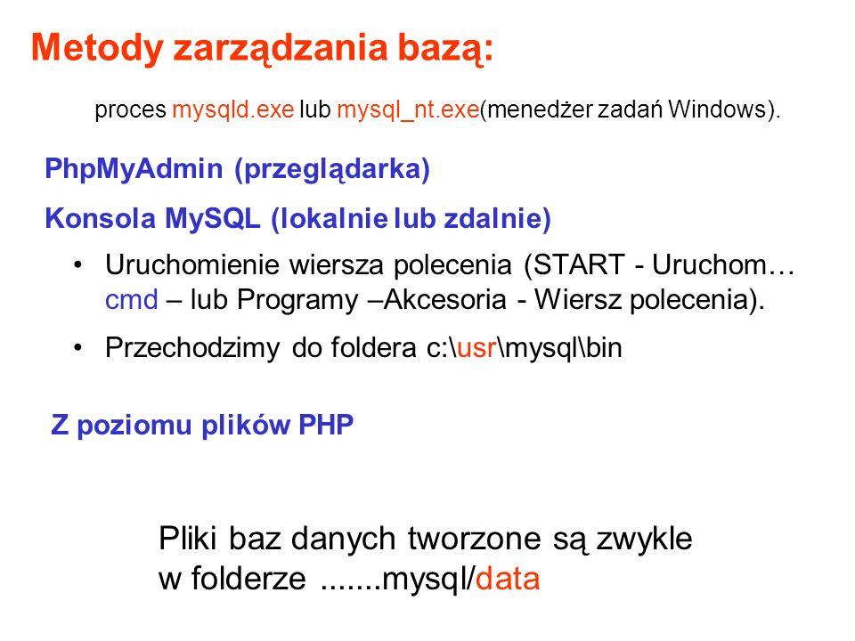 Wyświetlenie listy baz: c:\usr\mysql\bin>mysqlshow mysql i inne Baza mysql jest bazą administracyjną – dostęp do niej ma tylko ROOT (bądź inny użytkownik o przydzielonych przez administratora prawach dostępu).