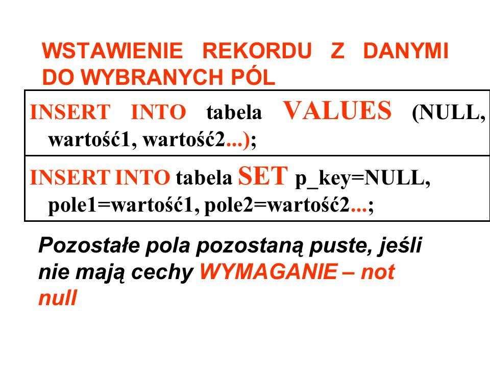 INSERT INTO tabela VALUES (NULL, wartość1, wartość2...); WSTAWIENIE REKORDU Z DANYMI DO WYBRANYCH PÓL Pozostałe pola pozostaną puste, jeśli nie mają c