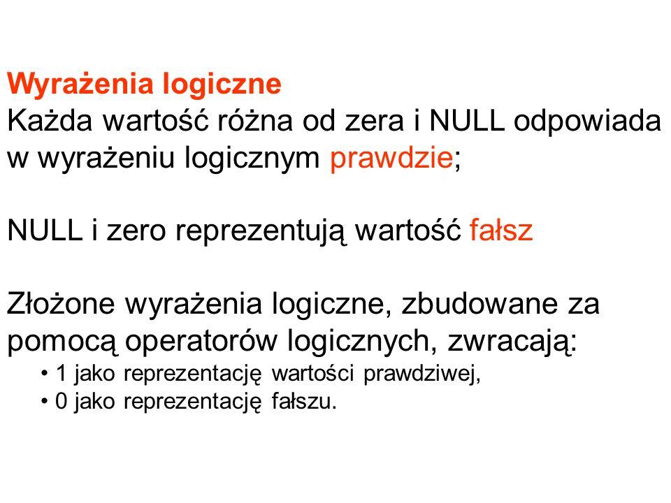 Wyrażenia logiczne Każda wartość różna od zera i NULL odpowiada w wyrażeniu logicznym prawdzie; NULL i zero reprezentują wartość fałsz Złożone wyrażen