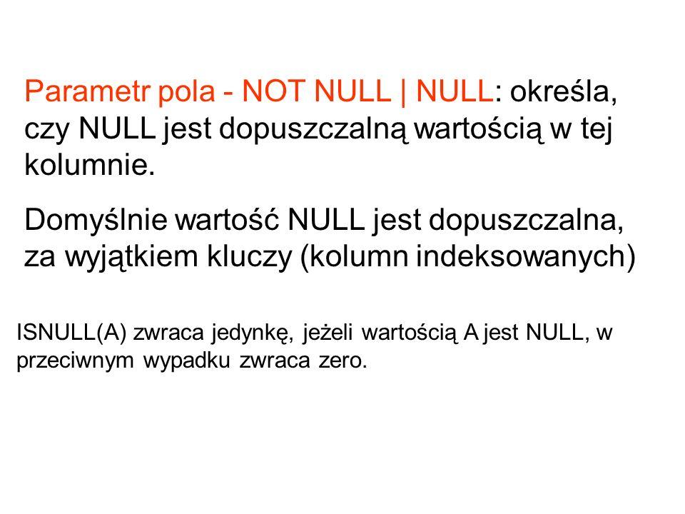 Parametr pola - NOT NULL | NULL: określa, czy NULL jest dopuszczalną wartością w tej kolumnie. Domyślnie wartość NULL jest dopuszczalna, za wyjątkiem
