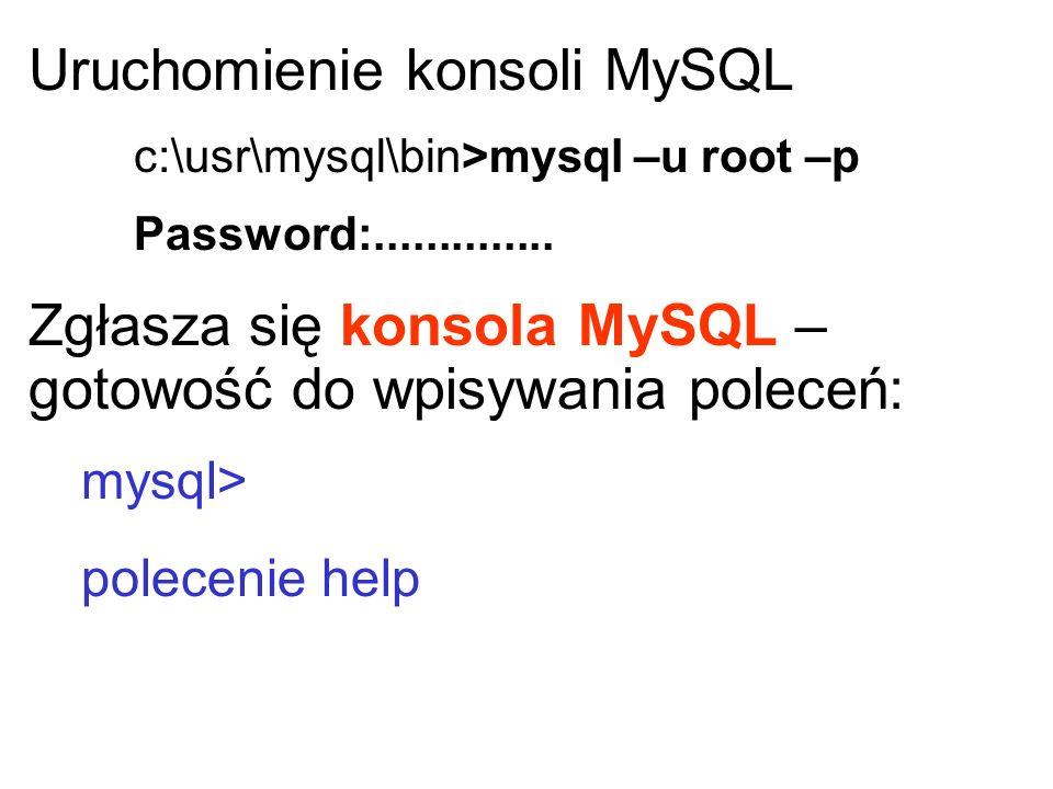 Uruchomienie konsoli MySQL c:\usr\mysql\bin>mysql –u root –p Password:.............. Zgłasza się konsola MySQL – gotowość do wpisywania poleceń: mysql