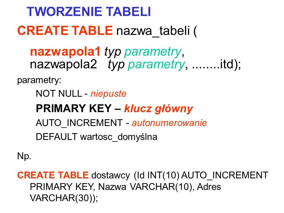 CREATE TABLE nazwa_tabeli ( nazwapola1 typ parametry, nazwapola2 typ parametry,........itd); parametry: NOT NULL - niepuste PRIMARY KEY – klucz główny