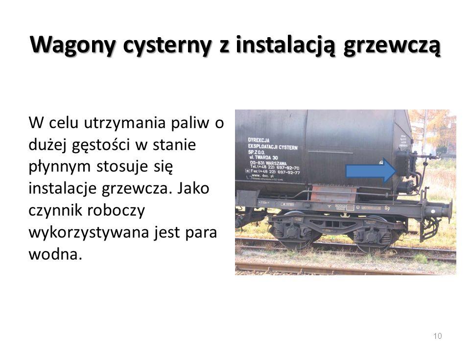 Wagony cysterny z instalacją grzewczą W celu utrzymania paliw o dużej gęstości w stanie płynnym stosuje się instalacje grzewcza.