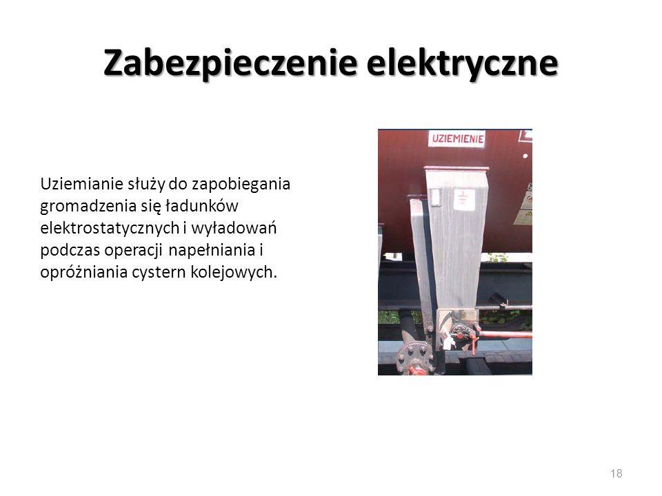 Zabezpieczenie elektryczne Uziemianie służy do zapobiegania gromadzenia się ładunków elektrostatycznych i wyładowań podczas operacji napełniania i opróżniania cystern kolejowych.