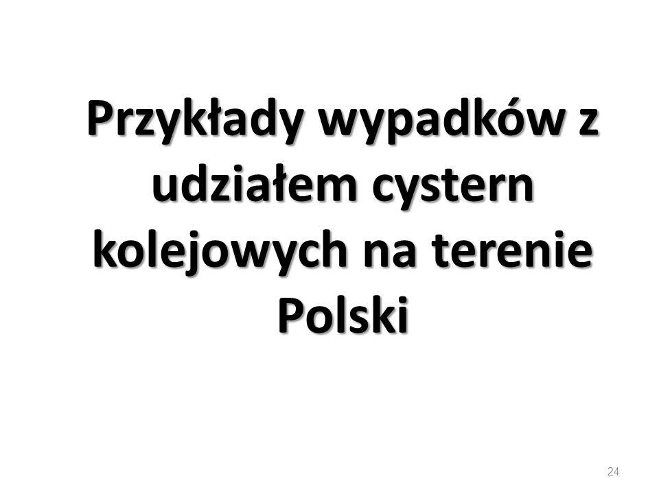 Przykłady wypadków z udziałem cystern kolejowych na terenie Polski 24