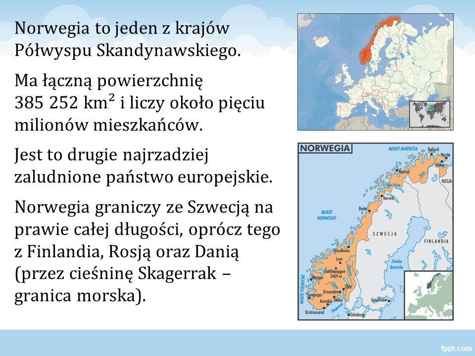 Norwegia to jeden z krajów Półwyspu Skandynawskiego. Ma łączną powierzchnię 385 252 km² i liczy około pięciu milionów mieszkańców. Jest to drugie najr