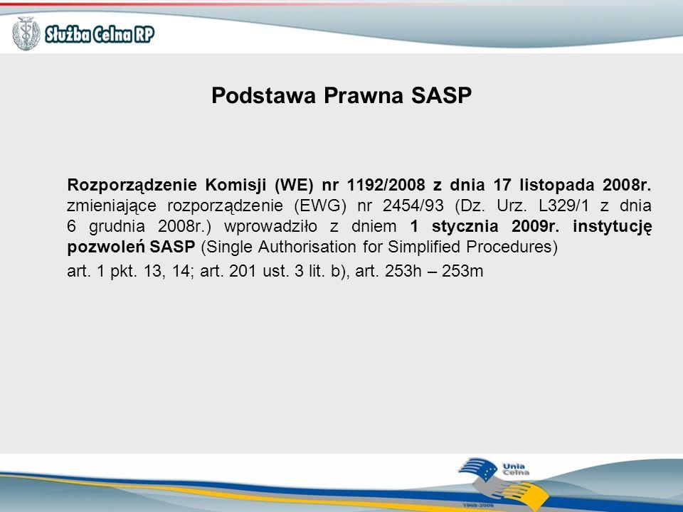 Podstawa Prawna SASP Rozporządzenie Komisji (WE) nr 1192/2008 z dnia 17 listopada 2008r. zmieniające rozporządzenie (EWG) nr 2454/93 (Dz. Urz. L329/1
