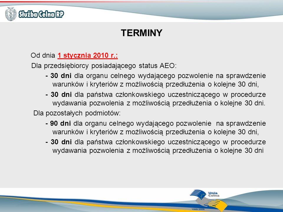 TERMINY Od dnia 1 stycznia 2010 r.: Dla przedsiębiorcy posiadającego status AEO: - 30 dni dla organu celnego wydającego pozwolenie na sprawdzenie waru