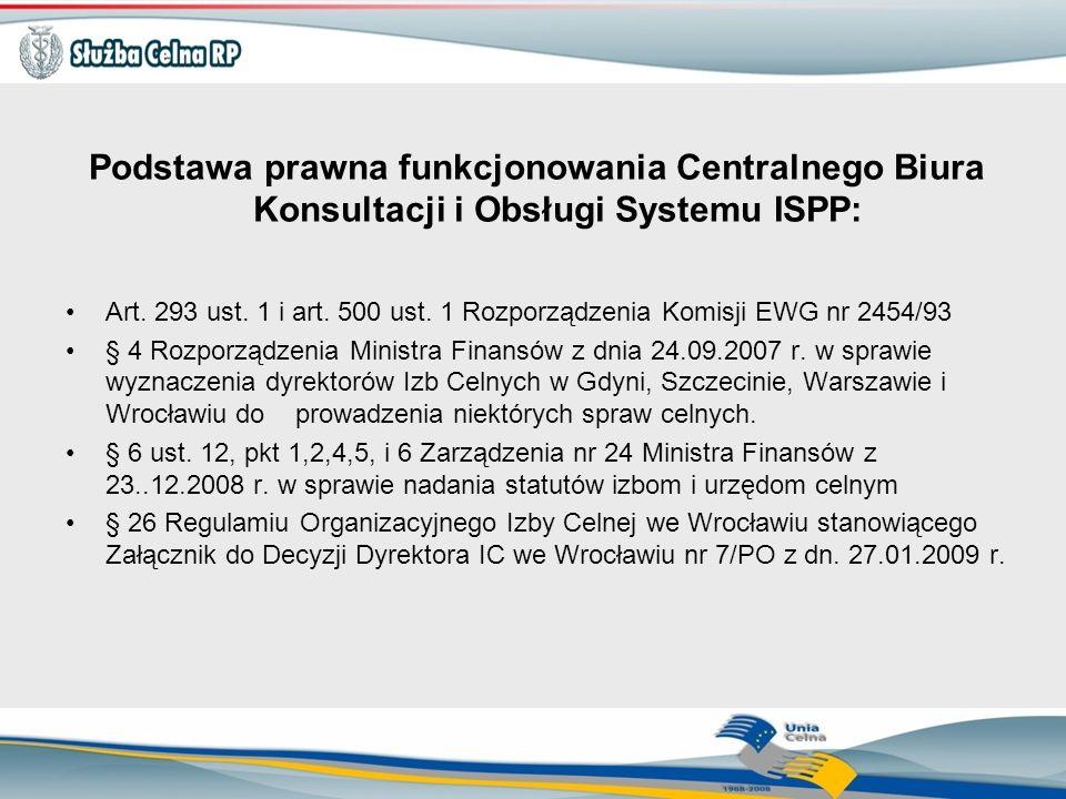 Podstawa prawna funkcjonowania Centralnego Biura Konsultacji i Obsługi Systemu ISPP: Art. 293 ust. 1 i art. 500 ust. 1 Rozporządzenia Komisji EWG nr 2