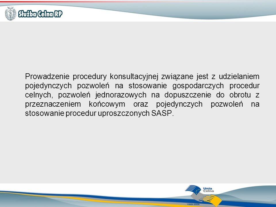 Prowadzenie procedury konsultacyjnej związane jest z udzielaniem pojedynczych pozwoleń na stosowanie gospodarczych procedur celnych, pozwoleń jednoraz