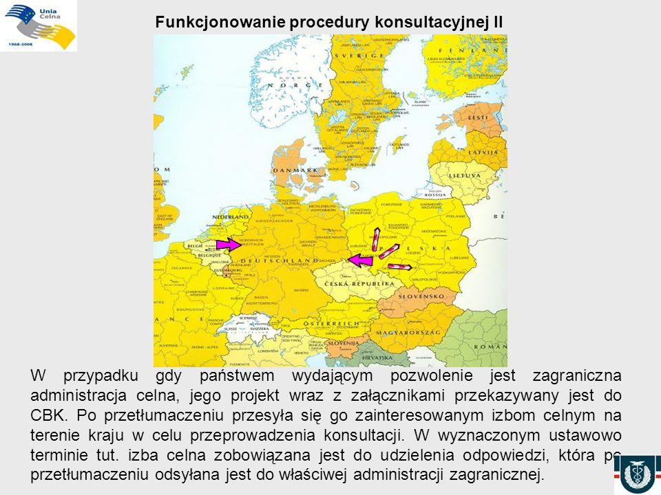 Funkcjonowanie procedury konsultacyjnej II W przypadku gdy państwem wydającym pozwolenie jest zagraniczna administracja celna, jego projekt wraz z zał