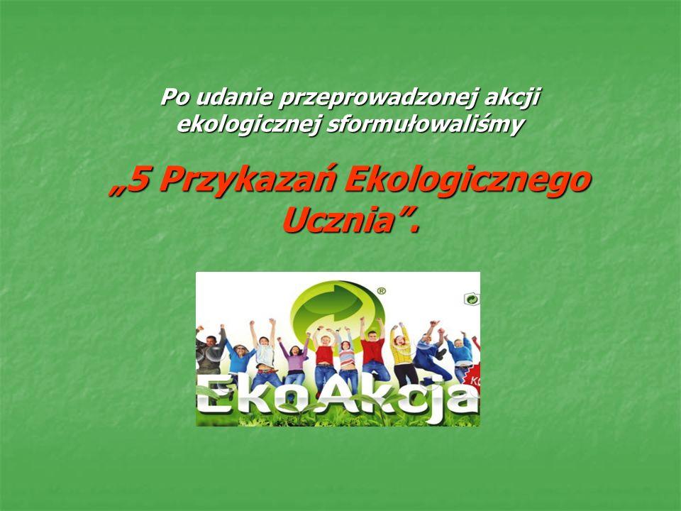 Po udanie przeprowadzonej akcji ekologicznej sformułowaliśmy 5 Przykazań Ekologicznego Ucznia.