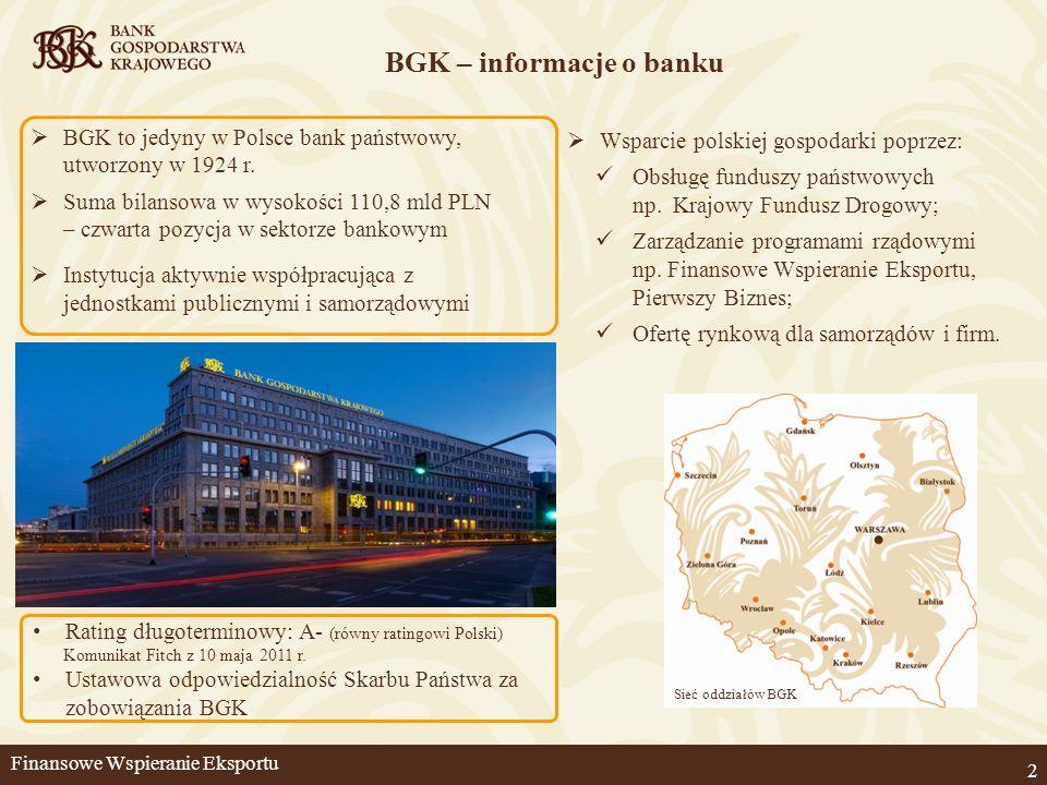 Umożliwienie refinansowania kredytu kupieckiego Wzmocniona konkurencyjność na rynkach zagranicznych – oferowanie płatności na warunkach odroczenia Eliminacja ryzyka braku zapłaty od zagranicznego kontrahenta Poprawa płynności Program rządowy - korzyści dla eksportera Możliwość finansowania nabywców polskich towarów i usług, także z krajów wysokiego ryzyka, m.in.