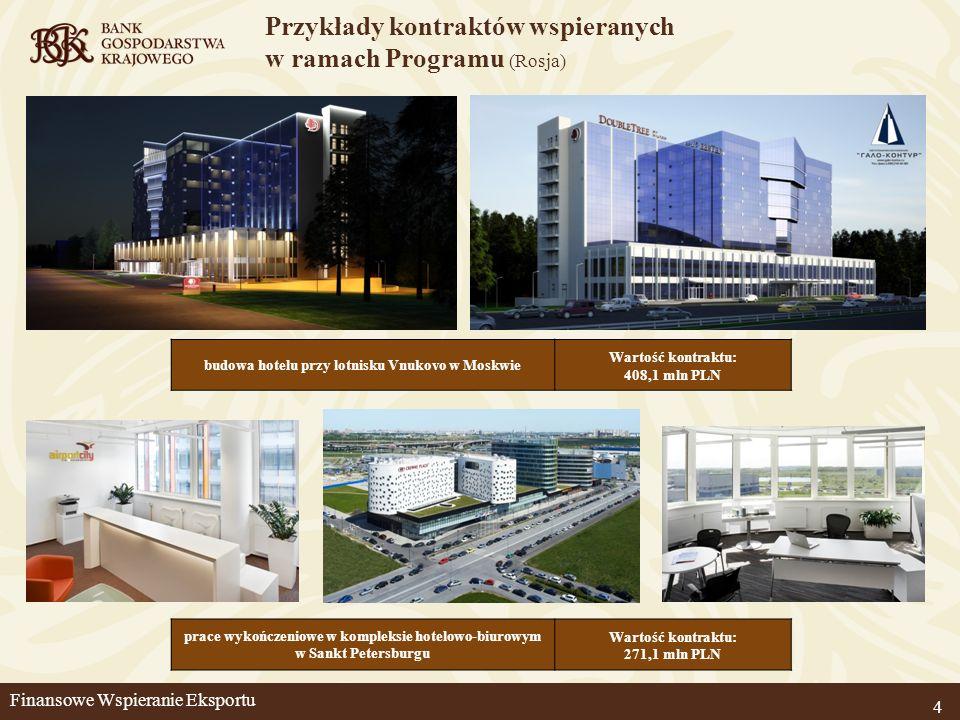 4 budowa hotelu przy lotnisku Vnukovo w Moskwie Wartość kontraktu: 408,1 mln PLN prace wykończeniowe w kompleksie hotelowo-biurowym w Sankt Petersburg