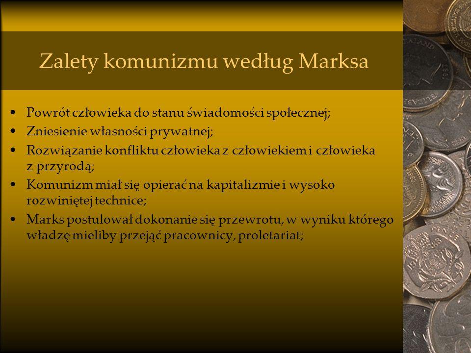 Zalety komunizmu według Marksa Powrót człowieka do stanu świadomości społecznej; Zniesienie własności prywatnej; Rozwiązanie konfliktu człowieka z czł
