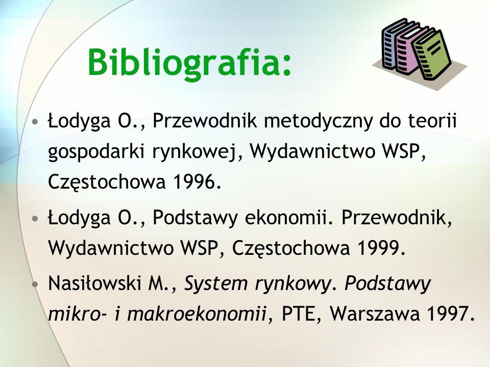 Bibliografia: Łodyga O., Przewodnik metodyczny do teorii gospodarki rynkowej, Wydawnictwo WSP, Częstochowa 1996. Łodyga O., Podstawy ekonomii. Przewod