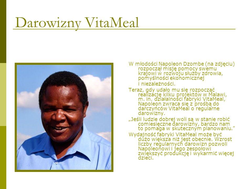 Darowizny VitaMeal W młodości Napoleon Dzombe (na zdjęciu) rozpoczął misję pomocy swemu krajowi w rozwoju służby zdrowia, pomyślności ekonomicznej i n
