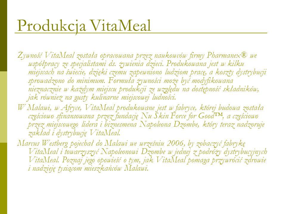 Produkcja VitaMeal Żywność VitaMeal została opracowana przez naukowców firmy Pharmanex® we współpracy ze specjalistami ds. żywienia dzieci. Produkowan