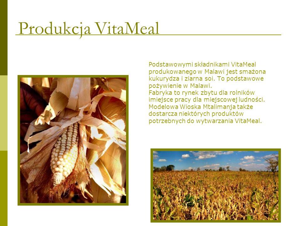 Podstawowymi składnikami VitaMeal produkowanego w Malawi jest smażona kukurydza i ziarna soi. To podstawowe pożywienie w Malawi. Fabryka to rynek zbyt