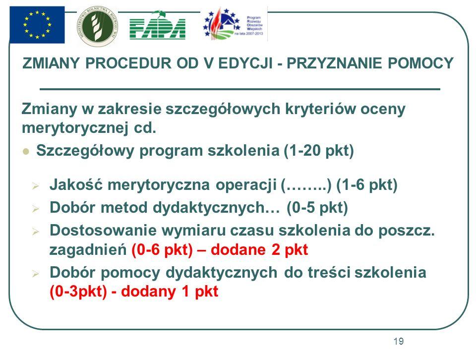 ZMIANY PROCEDUR OD V EDYCJI - PRZYZNANIE POMOCY Zmiany w zakresie szczegółowych kryteriów oceny merytorycznej cd. Szczegółowy program szkolenia (1-20