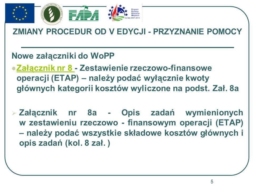 ZMIANY PROCEDUR OD V EDYCJI - PRZYZNANIE POMOCY Nowe załączniki do WoPP Załącznik nr 8 - Zestawienie rzeczowo-finansowe operacji (ETAP) – należy podać
