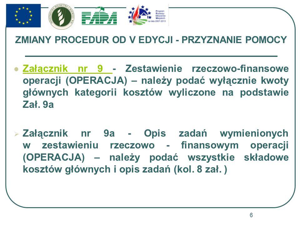 ZMIANY PROCEDUR OD V EDYCJI - PRZYZNANIE POMOCY Załącznik nr 9 - Zestawienie rzeczowo-finansowe operacji (OPERACJA) – należy podać wyłącznie kwoty głó
