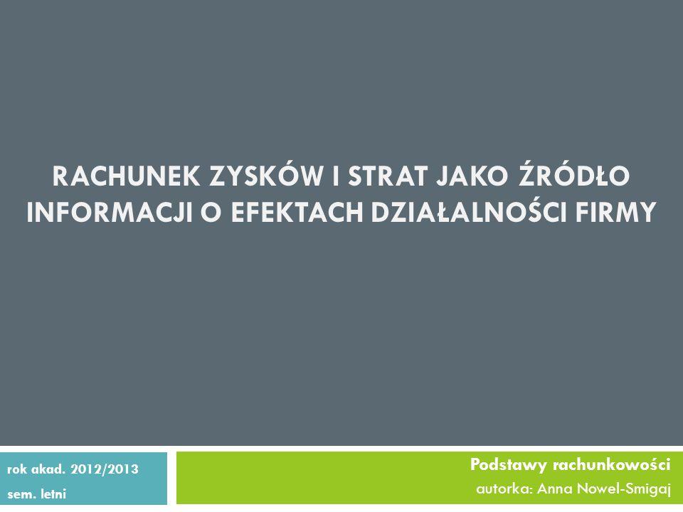 RACHUNEK ZYSKÓW I STRAT JAKO ŹRÓDŁO INFORMACJI O EFEKTACH DZIAŁALNOŚCI FIRMY Podstawy rachunkowości autorka: Anna Nowel-Smigaj rok akad.