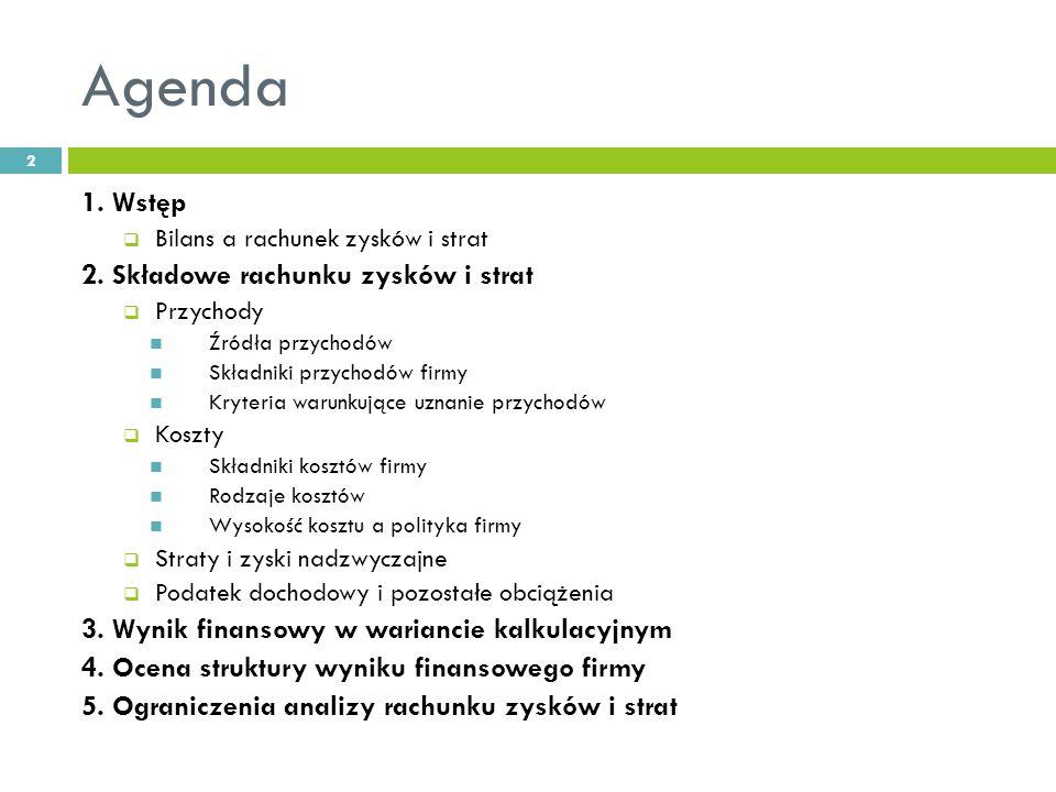 Agenda 1.Wstęp Bilans a rachunek zysków i strat 2.